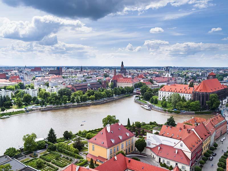 řeka Odra, Wroclaw, Polsko