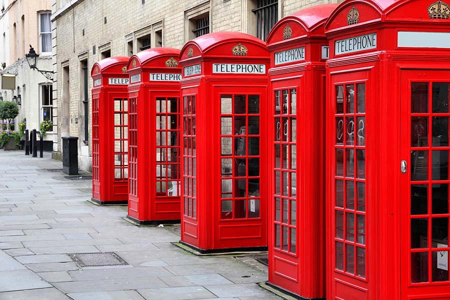 telefonní budky, Londýn, Anglie