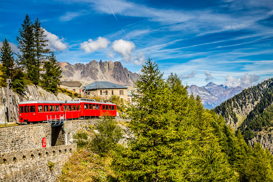 Francie Chamonix, Red Train Going To Montenvers Mer de Glace Station During Summer Day-Mont Blanc Massif
