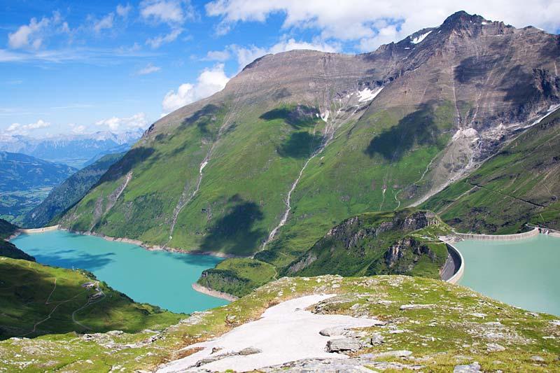 jezero Mooserboden, Kaprun, Rakousko