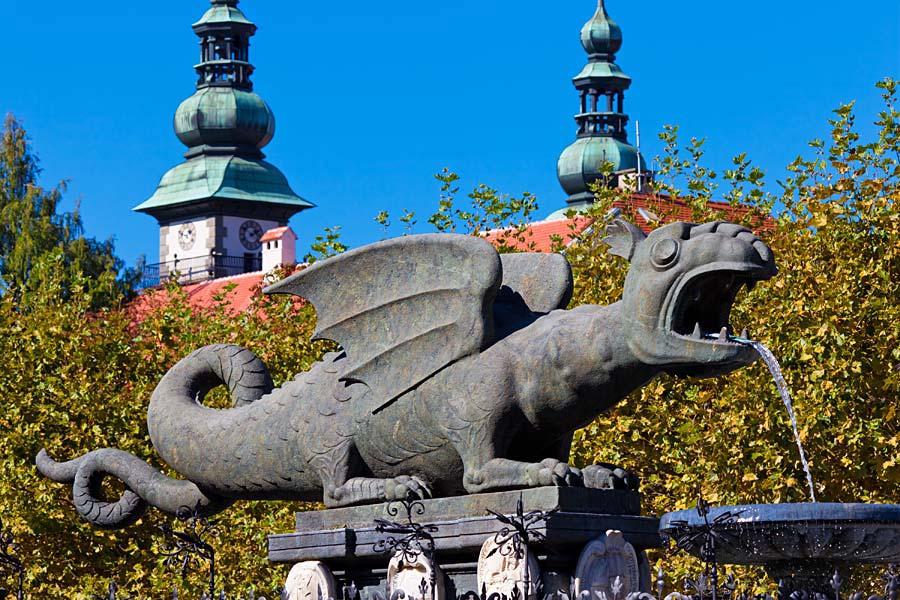 Lindwurmbrunnen, Klagenfurt, Rakousko