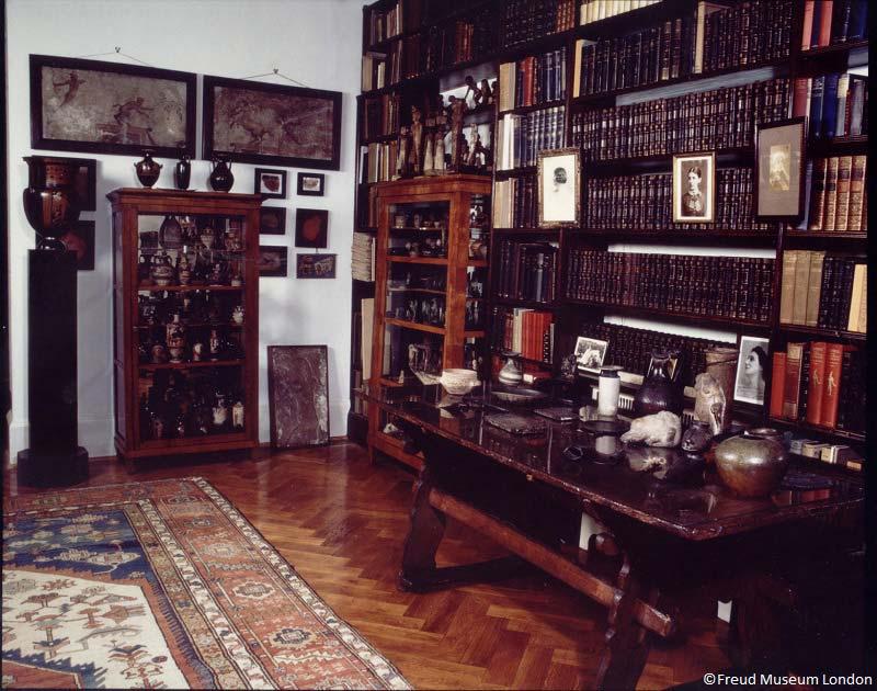 knihovna, dům Sigmunda Freuda, Londýn, Anglie