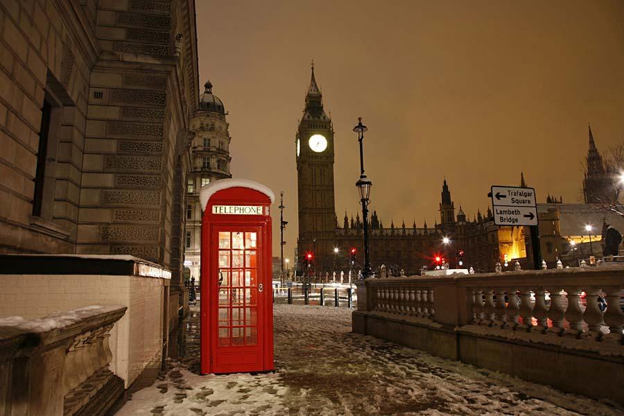 telefonní budka a Big Ben, Londýn, Anglie
