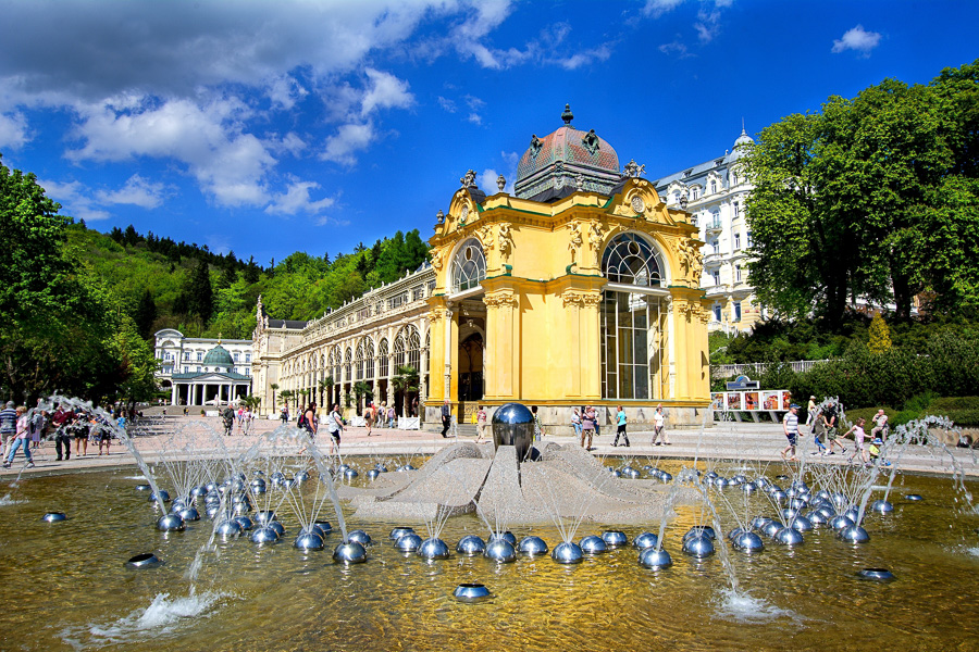 Ceska republika Marianske Lazne, zpivajici fontana