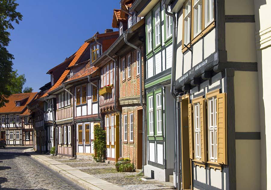 hrázděné domy ve Wernigerode, Německo