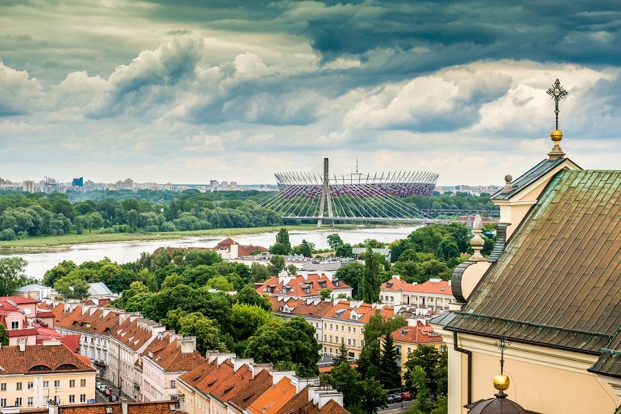 Praga a Stadion narodowy, Warsawa, Polsko