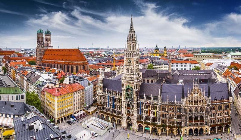 radnice na Marienplatz, Mnichov, Německo