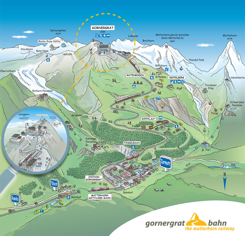 Švýcarsko Zermatt mapa